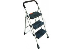 Kenton 3 Step Ladder  Anti Slip Handle  Safety Fold Up Clip  Non Slip Steps  Space Saving to Store